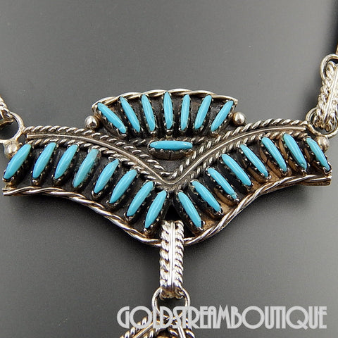 Native American Classic Zuni Signed 925 Silver Turquoise Needlepoint Ceremonial Dangle Necklace