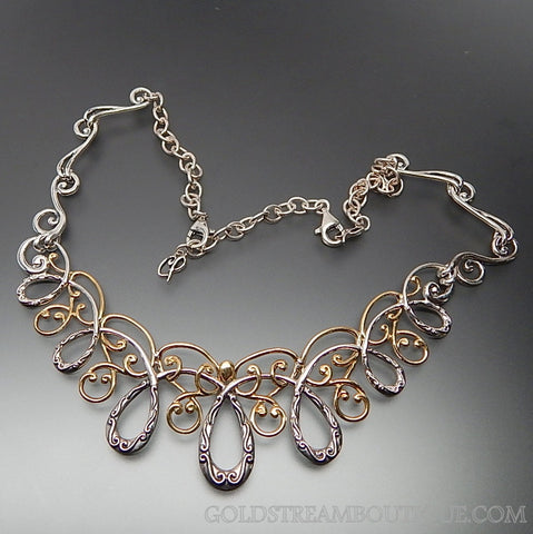 Carolyn Pollack sterling silver & brass coronation statement necklace