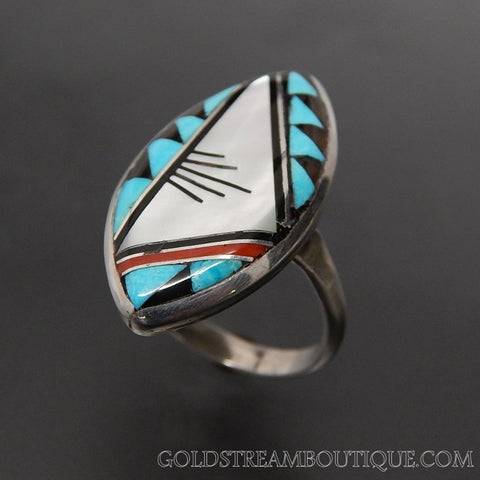 Native American laate zuni sterling silver multi gemstone mosaic inlay marquise ring - size 6.5