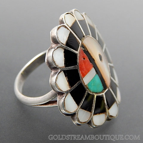 Native American Zuni Turquoise Coral Mother Of Pearl Jet Inlay Sun Face Sun God 925 Silver Ring - Size 6