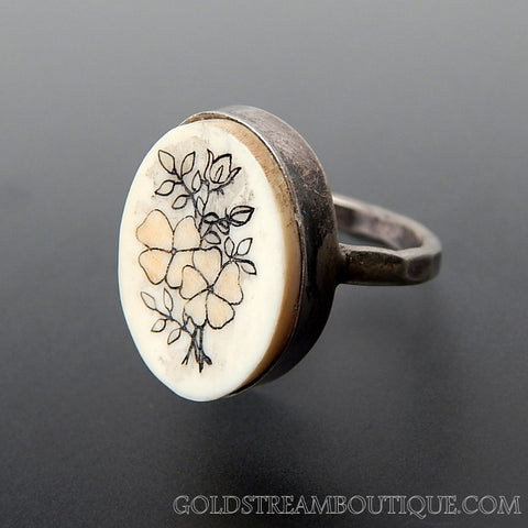 Unique Flowers Hand Carved On Ivory Sterling Silver Ring - Size 4