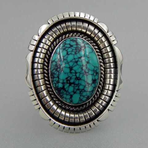 Handcrafted sterling silver and 14k gold oval spiderweb turquoise wide solid ring