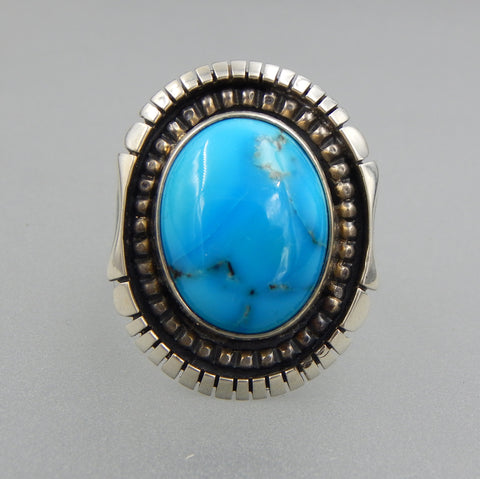 Handcrafted sterling silver oval bright color Kingman turquoise beaded cocktail ring