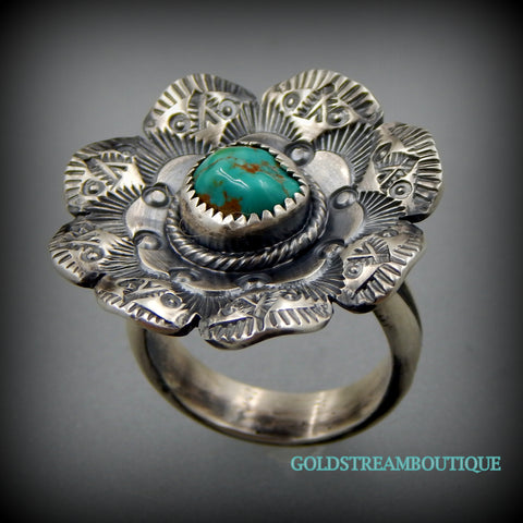 Unique handcrafted sterling silver complex stamped turquoise flower ring