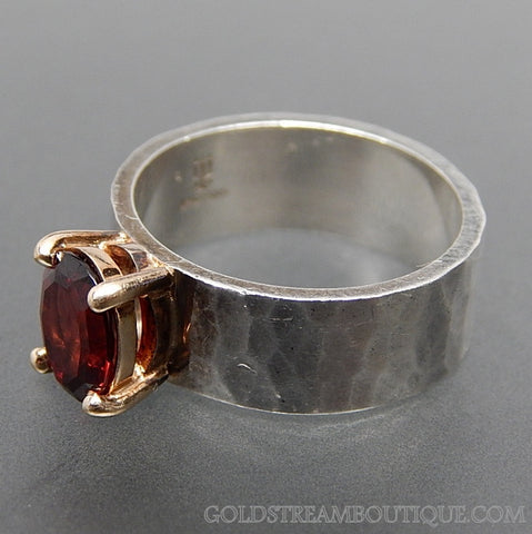 JAMES AVERY 14K YELLOW GOLD & STERLING SILVER GARNET JULIETTA RING - SIZE 6.5