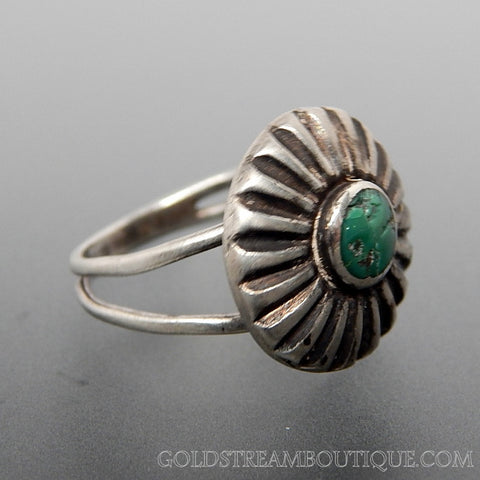 Vintage Southwestern Green Turquoise Sun Sterling Silver Ring - Size 6.75