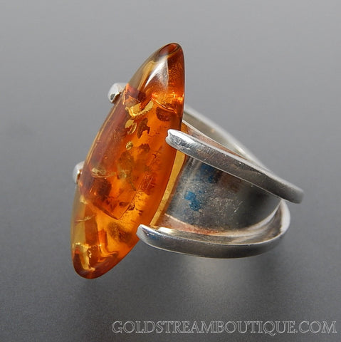 Sunny Baltic Amber Sterling Silver Modernist Ring - Size 6.75