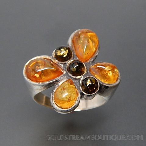 VINTAGE FALL LEAVES COLORS OF AMBER SUMMER BUTTERFLY STERLING SILVER RING - SIZE 6.25