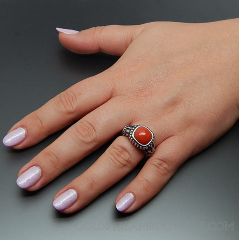 Gsj Gold Stone Jewelry Genuine Coral Roman Empire Style Sterling Silver Ring - Size 7