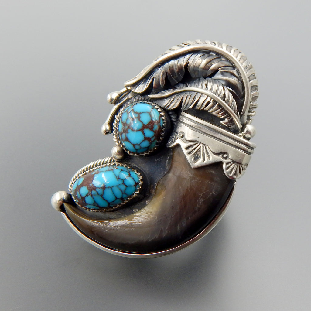 Handcrafted sterling silver bear claw spiderweb turquoise feathers ring - size 9