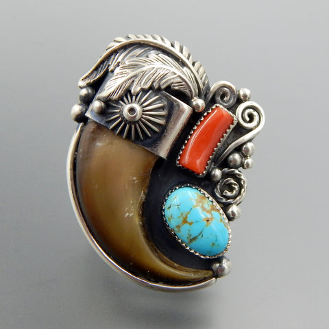 Handcrafted sterling silver bear claw coral turquoise feathers ring - size 9.75