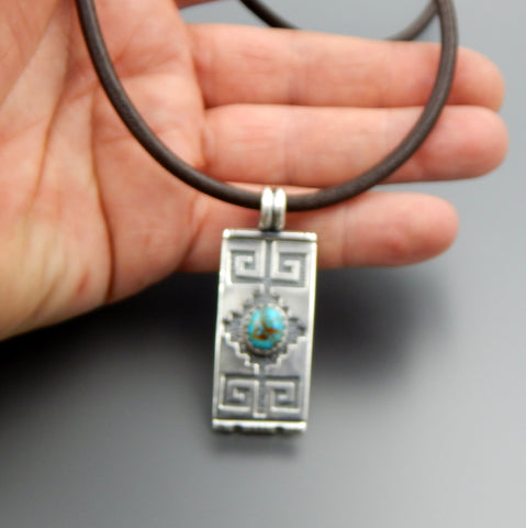 Handcrafted sterling silver turquoise overlay slide pendant leather cord 21""