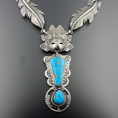 Handcrafted sterling silver turquoise feathers detailed kachina stamped necklace 22.5""