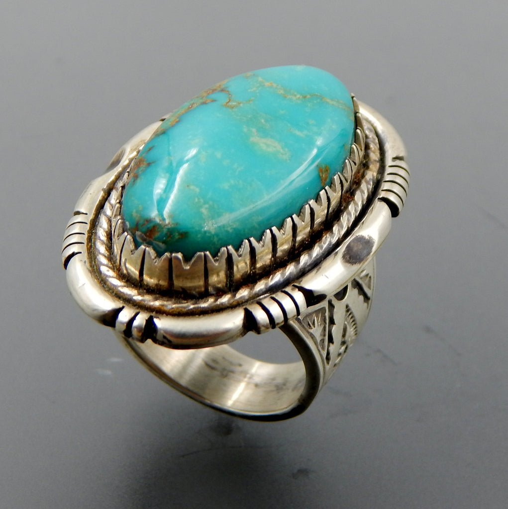 Handcrafted sterling silver oval turquoise saw tooth setting stamped shank ring - size 8.75