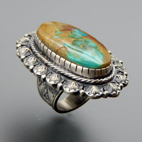 Handcrafted sterling silver oval large turquoise ornate stamped huge ring - size 9.25