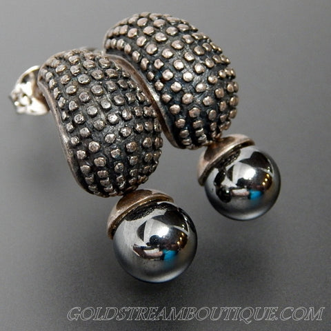 HEMATITE BEAD ARMADILLO DESIGN STERLING SILVER DANGLE POST EARRINGS
