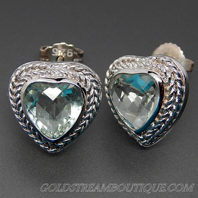 Faceted prasiolite twisted rope sterling silver heart pose earrings