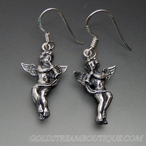 Ridged 3d Design Angels Sterling Silver Dangle Hook Earrings