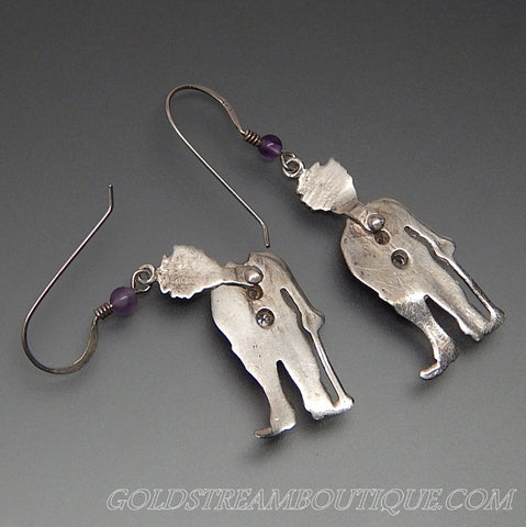 Amethyst bead & cubic zirconia sterling silver happy clown mechanical hook earrings
