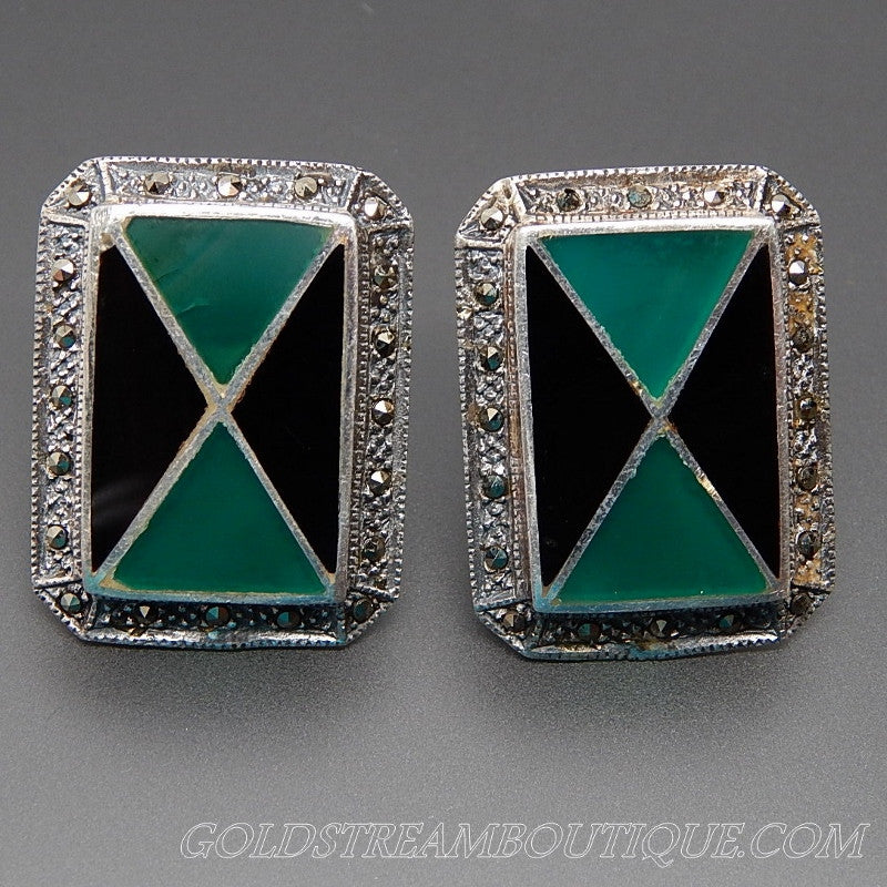 Vintage Black & Green Onyx Mosaic Inlay Marcasite Accents Sterling Silver Art Deco Earrings