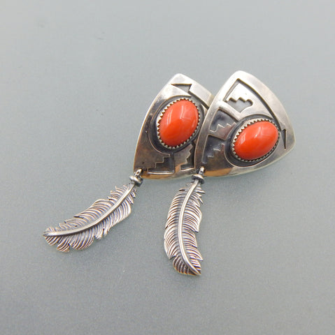 Exotic quality handcrafted sterling Mediterranean Coral post hanging earring