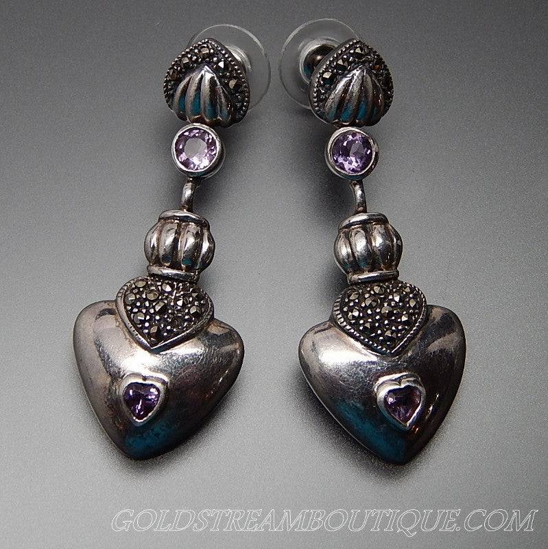 Vintage Amethyst & Marcasite Accents Hearts Sterling Silver Elongated Dangle Post Earrings