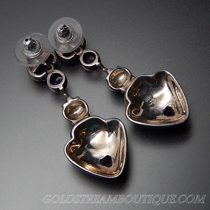 Vintage Amethyst Amp Marcasite Accents Hearts Sterling
