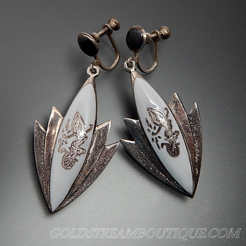Amfarco Siam Black & White Enamel Dancing Goddess Lotus Flower 925 Silver Screw Back Earrings