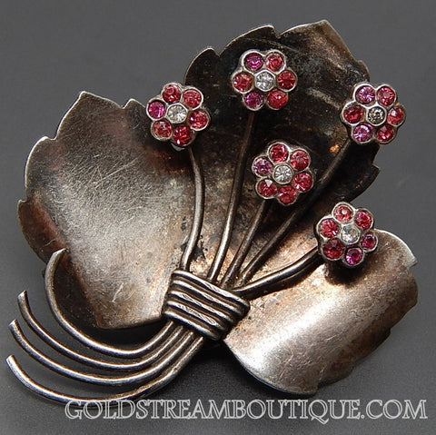Vintage Pink & White Rhinestones Bouquet Of Flowers Sterling Silver Brooch Pin