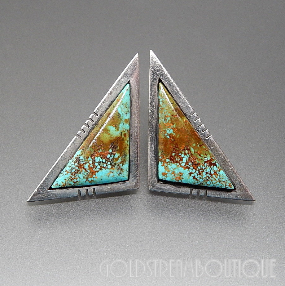 Native American Navajo sterling silver American turquoise triangle contemporary post earrings