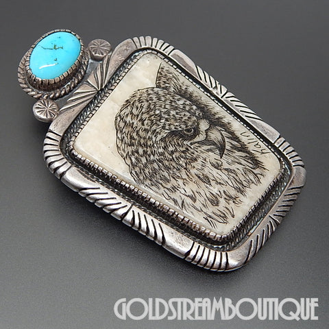 Native American L. Maloney navajo silver turquoise petrified walrus tusk eagle srcimshaw by kalin pin pendant