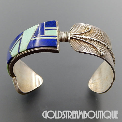 Native American Old Pawn Zuni Sterling Silver Lapis Lazuli & Turquoise Mosaic Inlay Arrow Feather Cuff Bracelet