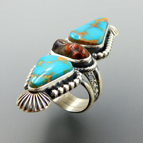 Handcrafted sterling silver American turquoise & fire agate long statement ring size 9.5