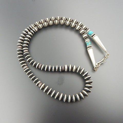 Handcrafted sterling silver turquoise graduated beaded necklace 25""
