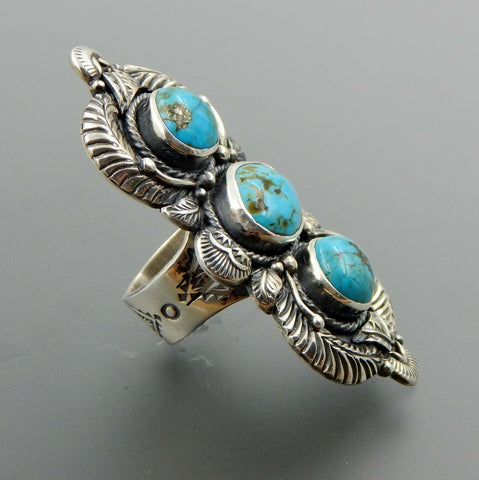 Handcrafted sterling silver 3 american turquoise feathers statement ring sz 9.25