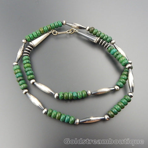 Handcrafted sterling silver green turquoise beaded necklace 27.5""