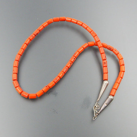 Handcrafted sterling silver coral 5 mm tube beads hook clasp necklace 19""