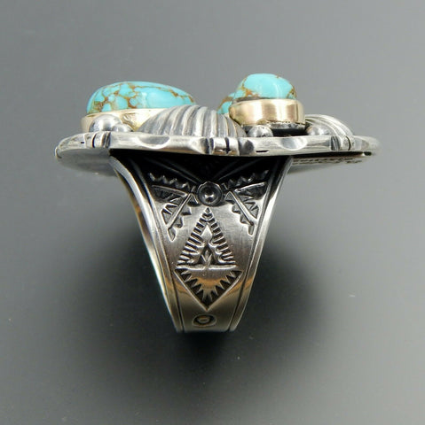Handcrafted sterling silver 14k gold American turquoise fluted stamped ring, 9.5