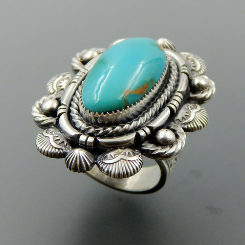 Handcrafted sterling silver American oval turquoise stamped complex ring size 9