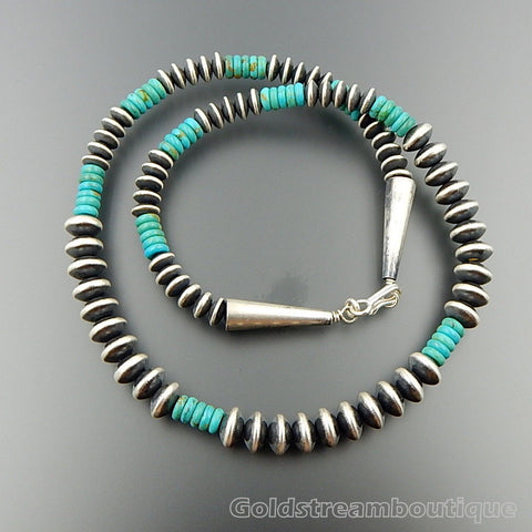 Handcrafted Graduated Sterling Silver Alternating Turquoise Beads Necklace 20""