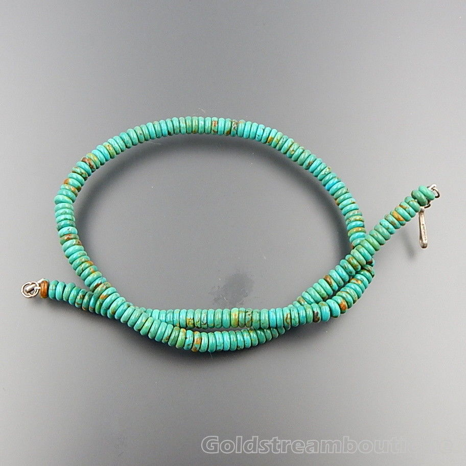 Handcrafted sterling silver 6 mm turquoise beads hook clasp necklace 18""