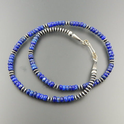 Handcrafted sterling silver lapis lazuli 6 mm alternating beads necklace 24""