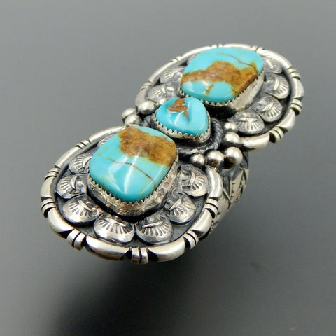 Handcrafted sterling silver 3 amazing turquoise long complex statement ring sz 9