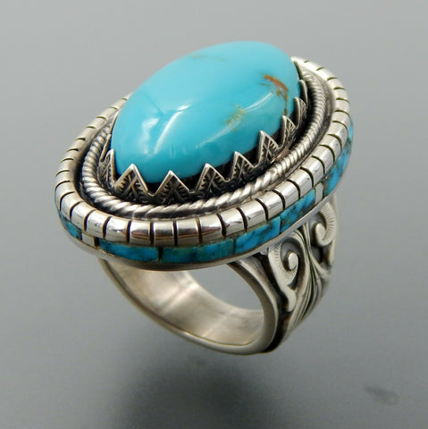 Handcrafted unique sterling silver oval turquoise & inlay statement ring size 9