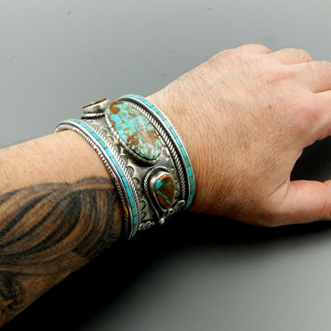 WOW handcrafted sterling silver high quality turquoise wide heavy cuff bracelet
