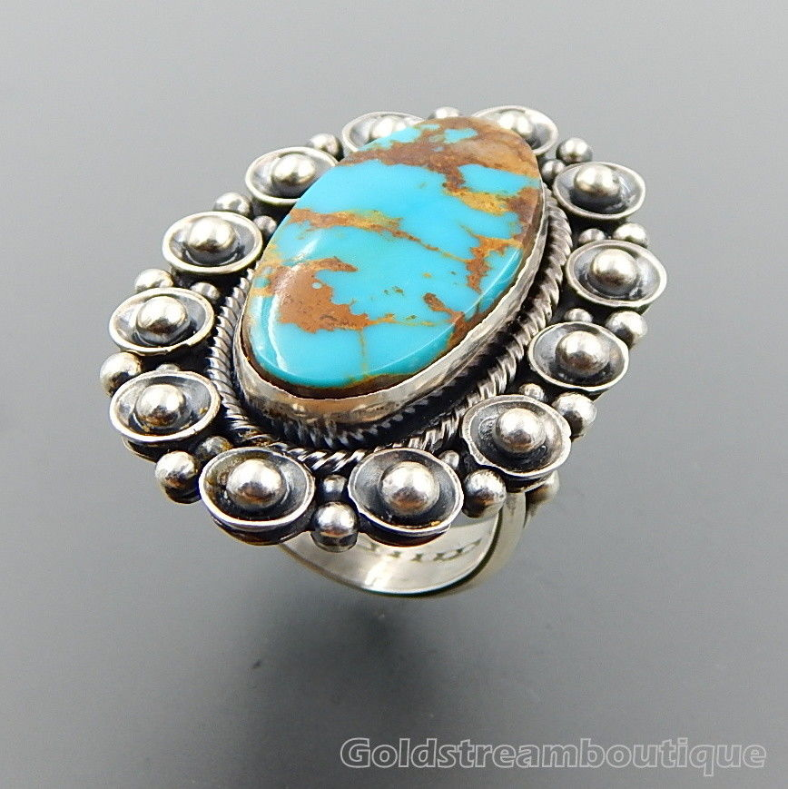 Handcrafted oval turquoise sterling silver beaded wide ring - size 11