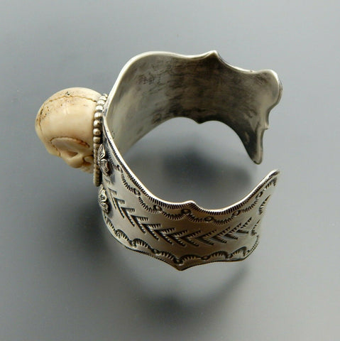 Special handcrafted sterling silver floral stamped wide scull cuff bracelet 7""