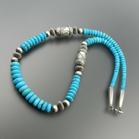 Exceptional sterling silver handcrafted tube turquoise beaded necklace 25.5""