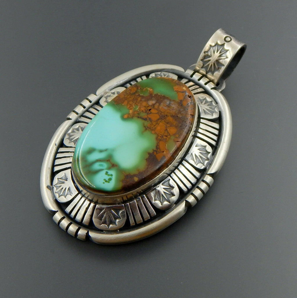 Lovely handcrafted sterling silver oval American turquoise shadowbox pendant