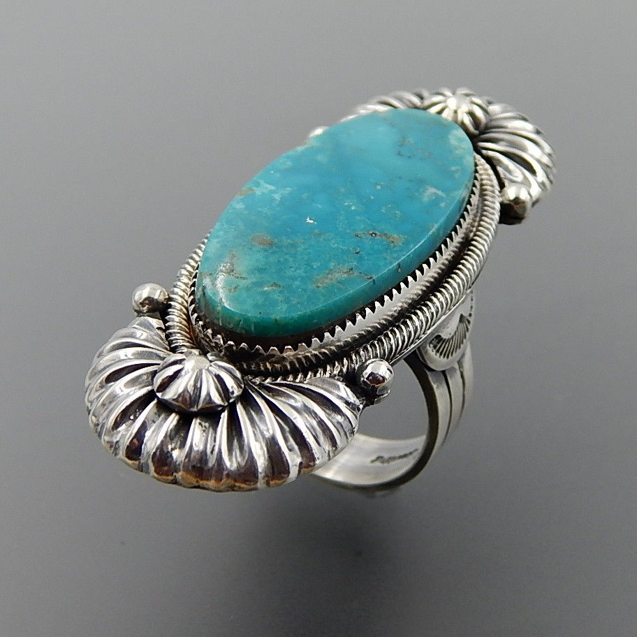 Handcrafted oval turquoise sterling silver ribbed elongated ring - size 9.5